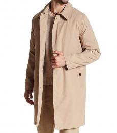 Cole Haan Beige Solid Trench Rain Coat