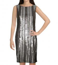 Ralph Lauren Black Sequined Striped Dress