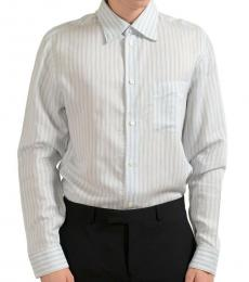 White Striped Silk Casual Shirt