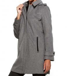 Medium Grey Faux Leather Trim Walker Coat