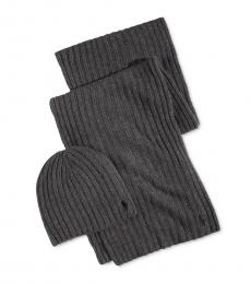 Ralph Lauren Grey Ribbed Hat & Scarf Set