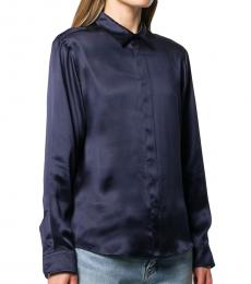 Balenciaga Navy Blue Silk Party Shirt