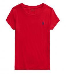 Ralph Lauren Girls Red Crewneck T-Shirt