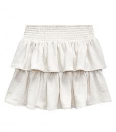 Ralph Lauren Girls Cream Heather Ruffled Atlantic Terry Skirt