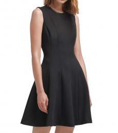 DKNY Black Faux-Leather Trim Dress