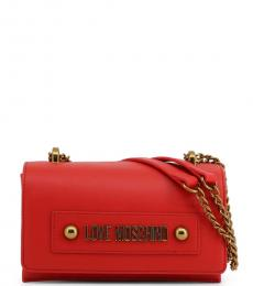 Love Moschino Red Solid Small Shoulder Bag