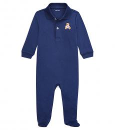 Baby Boys French Navy Polo Bear Coverall
