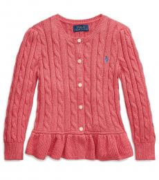 Little Girls Geranium Cable Peplum Cardigan