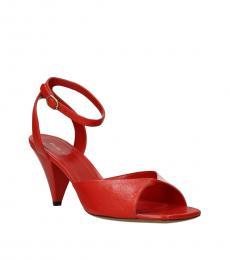 Celine Red Ankle Strap Heels