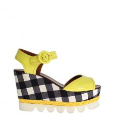 Yellow Leather Check Wedges
