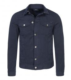 Armani Jeans Dark Blue Denim Buttoned Jacket