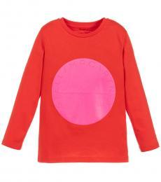 Little Girls Red & Neon Pink Logo T-Shirt