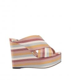 Sergio Rossi Multicolor Striped Wedges