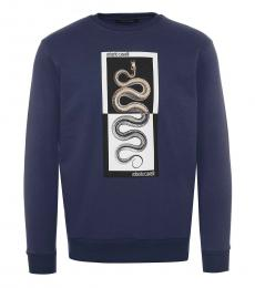 Roberto Cavalli Dark Blue Logo Graphic Sweatshirt