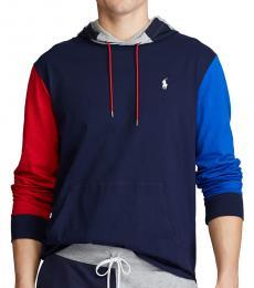 Ralph Lauren Navy Blue Jersey Hooded T-Shirt