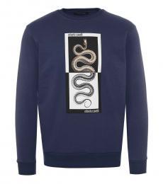 Roberto Cavalli Dark Blue Logo Sweatshirt