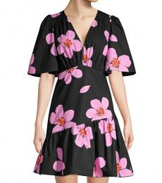 Kate Spade Black Grand Flora Empire-Waist A-Line Dress