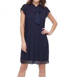 DKNY Spring Navy Pleated Tie-Neck Shift Dress