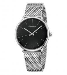 Calvin Klein Silver Black Dial Logo Watch