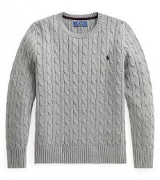 Ralph Lauren Boys League Heather Cable Knit Sweater