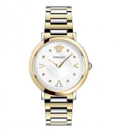 Versace Gold Silver Logo Watch