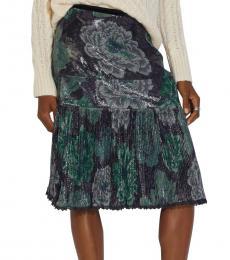 Coach Grey/Green Kaffe Fassett Print Pleated Skirt