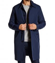 Cole Haan Dark Blue Solid Trench Rain Coat