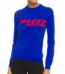 Love Moschino Royal Blue Crew Neck Logo Sweater