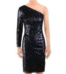 Black Sequined One Shoulder Dress