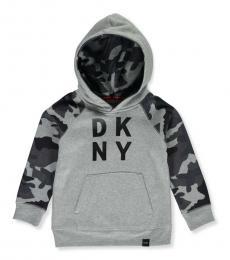 DKNY Little Boys Grey Camo Trim Hoodie