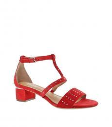 Red Studded Block Heels