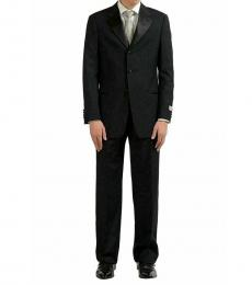 Armani Collezioni Black Wool Mohair Three Button Suit