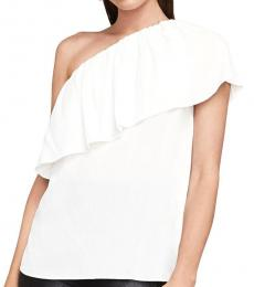 White One Shoulder Ruffle Top