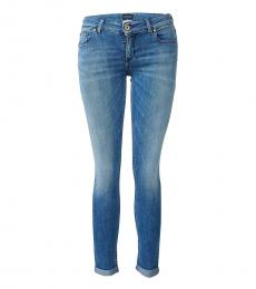 Blue Slim Fit Cotton Jeans