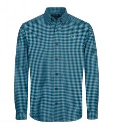 Aqua Logo Embroidered Check Shirt