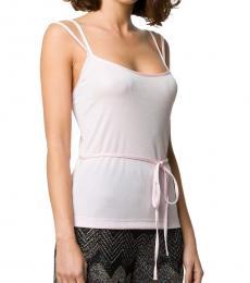 Light Pink Tied Waist Slim Fit Vest Top
