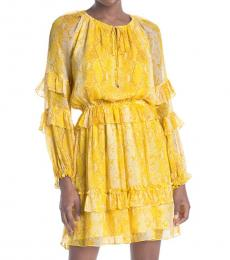 Yellow Printed Silk Ruffle Dress