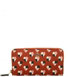 Coach Red Checker Heart Print Wallet