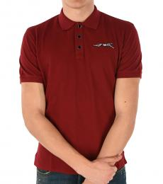 Just Cavalli Red Ghepard Embroidered Polo