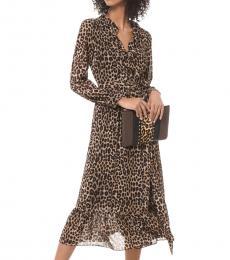Michael Kors Brown Leopard Georgette Wrap Dress