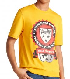 Yellow Crest Ribbed Hem Graphic T-Shirt