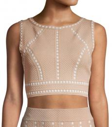 BCBGMaxazria Bare Pink Fenella Textured Crop Top