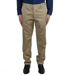 Beige Solid Dress Pants