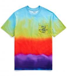 Ralph Lauren Boys Rainbow Jersey Graphic Pocket T-Shirt
