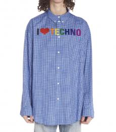 Blue I Love Techno Shirt
