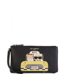 Black Taxi Graphic Wristlet