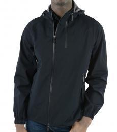 Dark Blue Hooded Windbreaker Jacket