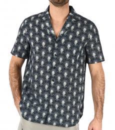 Blue Short Sleeve Loose Fit Shirt