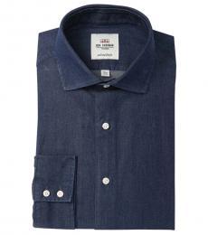 Dark Blue Tailored Slim Fit Denim Dress Shirt