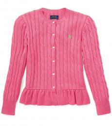 Ralph Lauren Girls Baja Pink Cable Peplum Cardigan